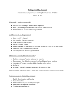 Writing a Teaching Statement Transitioning to Professorship