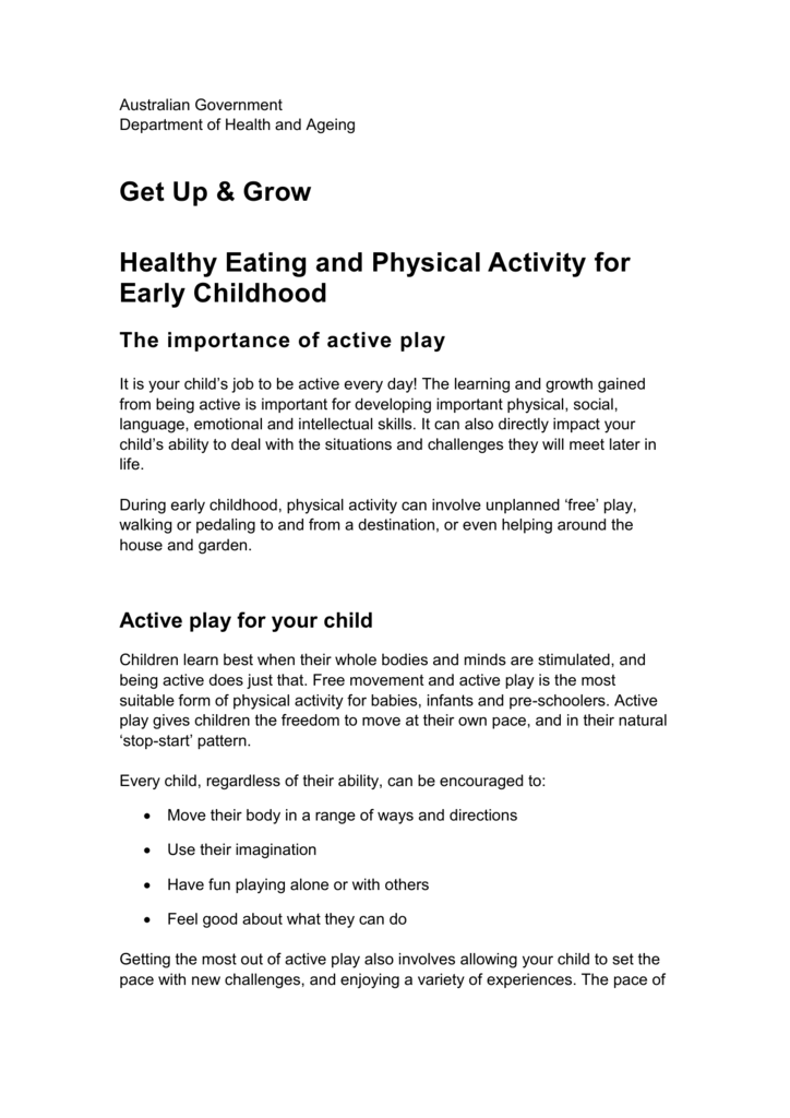 Get Up And Grow Healthy Eating And Physical Activity For Early
