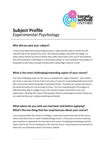 Psychology Subject Profile - Target Schools