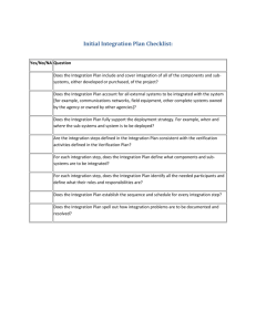 Integration Plan Checklist
