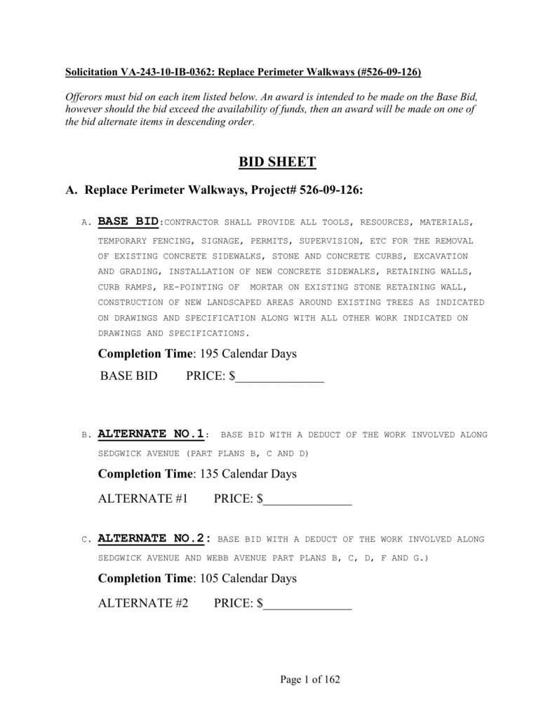 information regarding bidding material, bid guarantee and bonds on