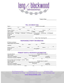 Patient Form (Adult)