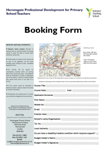 Booking Form - Heronsgate Primary School