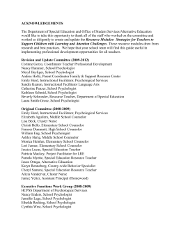 ACKNOWLEDGEMENTS The Department of Special Education and