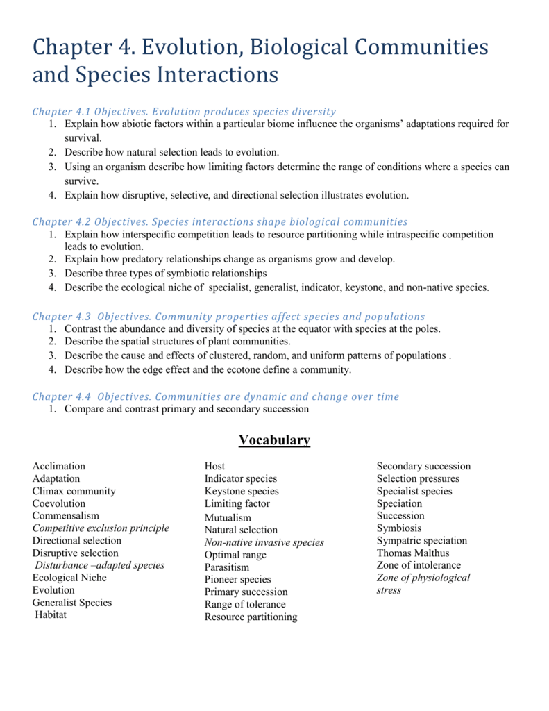 Chapter 4 Outline – Primary and Secondary Succession Worksheet