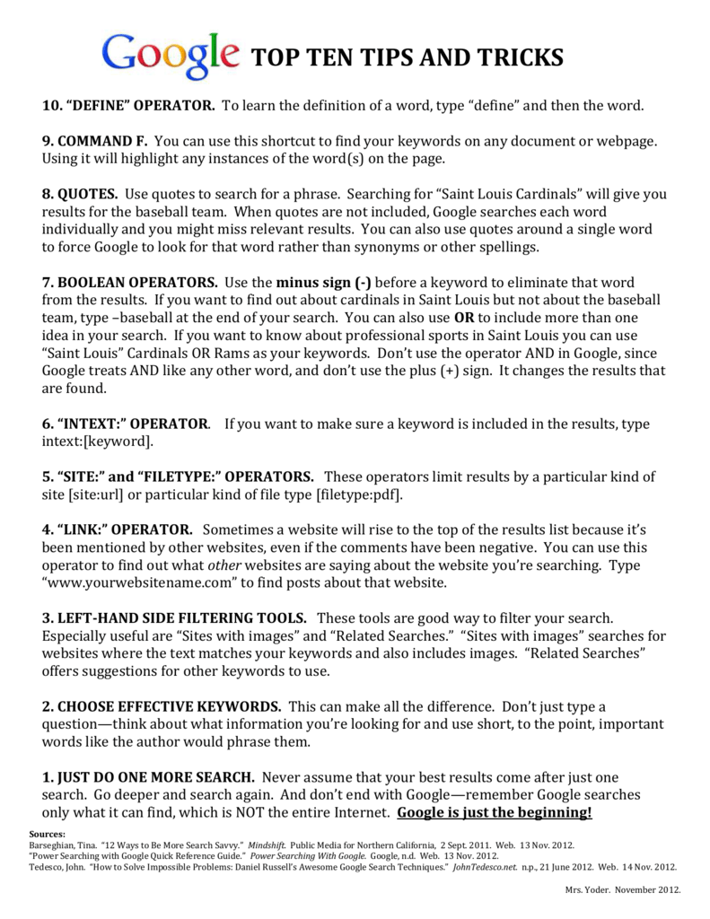 Google Tips and Tricks Handout