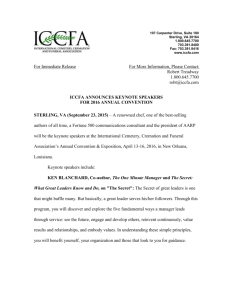 ICCFA Announces Keynote Speakers for 2016 Annual Convention