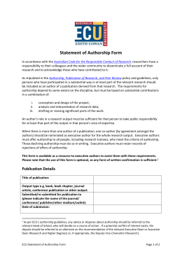 Statement of Authorship Form