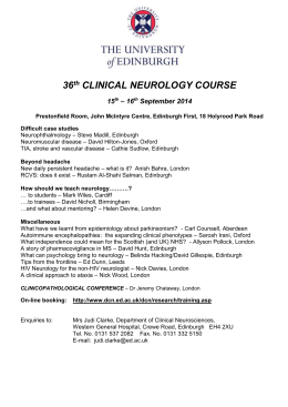 THE 21st BIRTHDAY OF THE ADVANCED CLINICAL NEUROLOGY