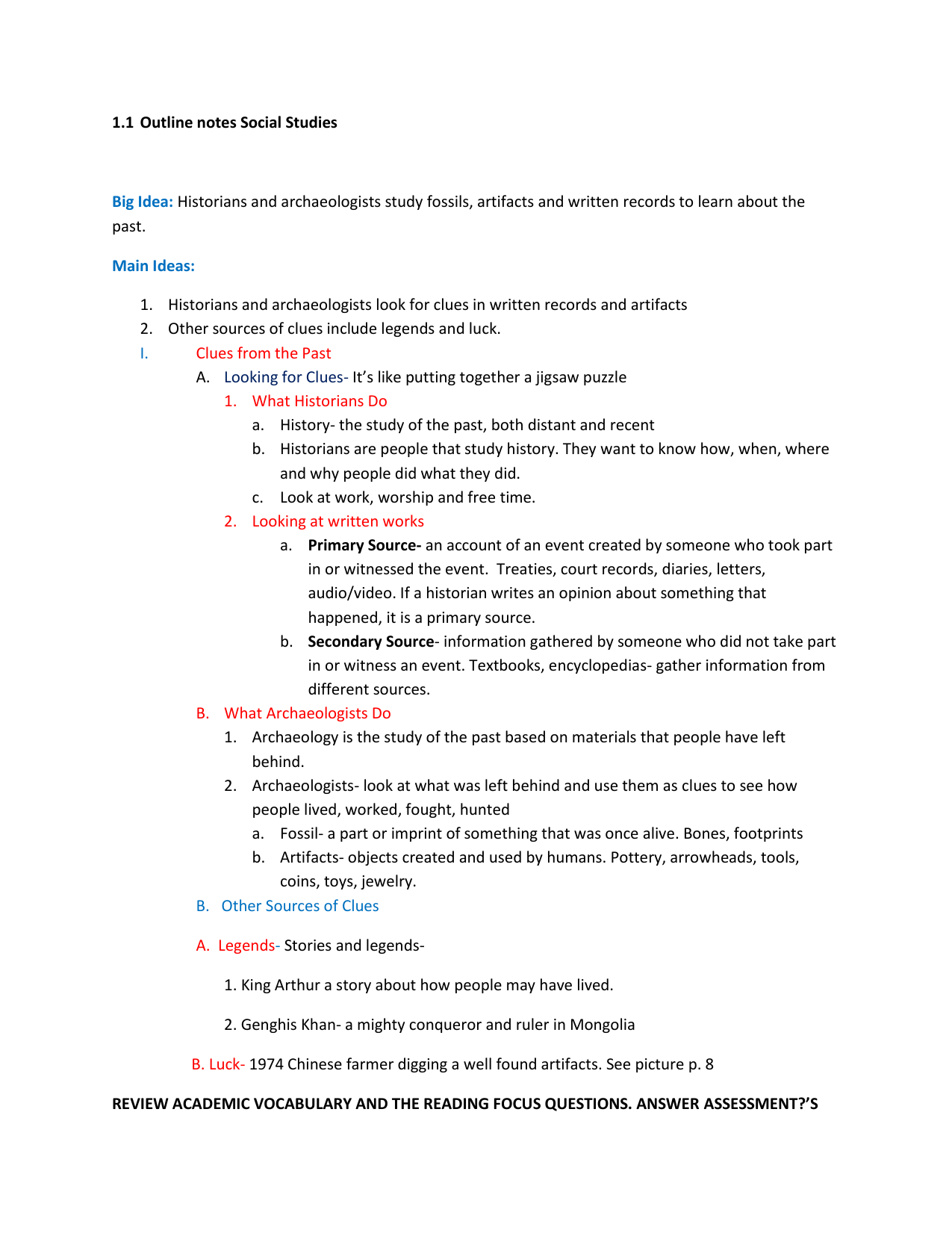 notes outline