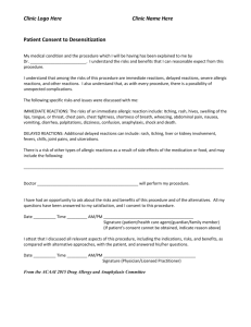 Consent form for desensitization