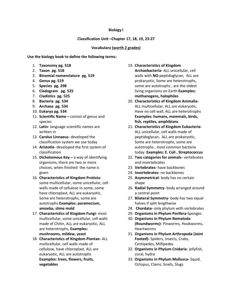 Biology I Classification Unit –Chapter 17, 18, 19, 23