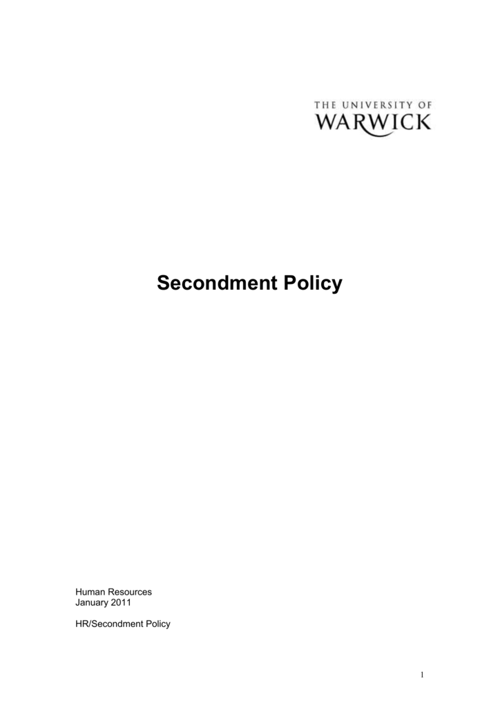 Secondment Policy University Of Warwick