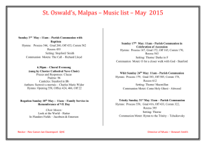St. Oswald*s, Malpas * Music list * May 2015