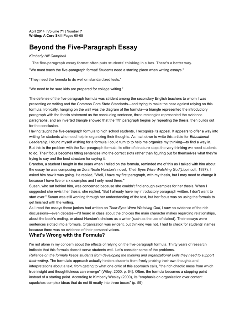 kill the 5 paragraph essay