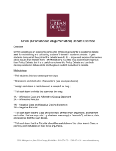 SPAR (SPontaneous ARgumentation) Debate Exercise Overview
