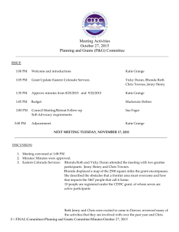 Meeting Activities October 27, 2015 Planning and Grants (P&G