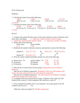 Basic Atomic Structure Worksheet ANSWERS
