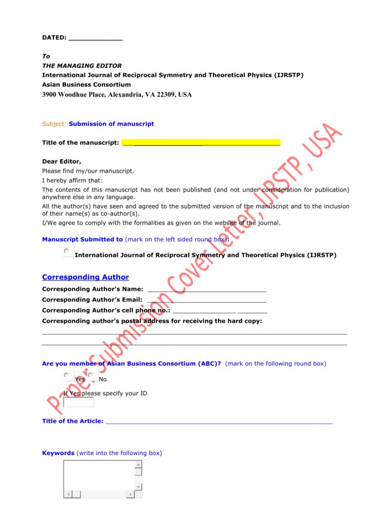 Paper Submission Cover Letter, IJRSTP, USA DATED: ______ To