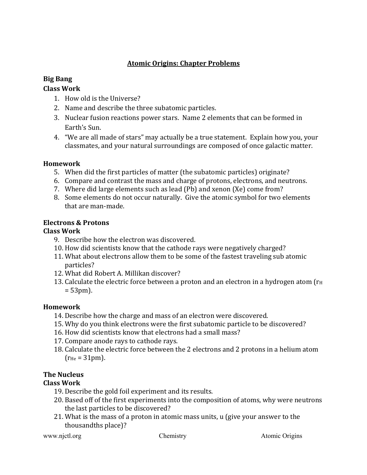 Atomic origins chapter problems big bang class work how old is buycottarizona Images
