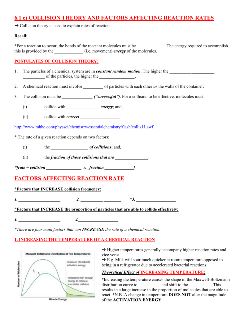 6.1 c) Collision Theory and Factors Affecting Reaction Rates