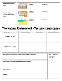 UNIT 2 REVISION – Tectonic Landscapes