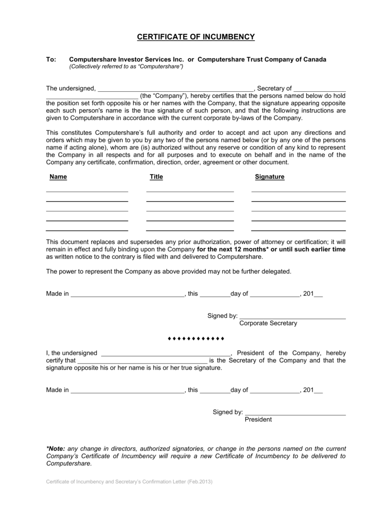 certificate of incumbency template free - incumbency certificate form