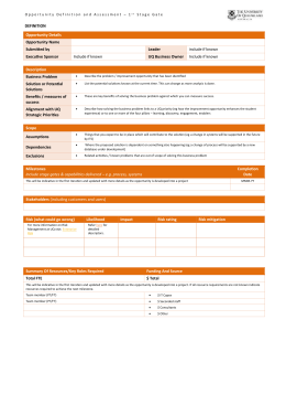 Opportunity Definition & Assessment Template