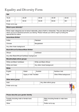 Equality and Diversity Form