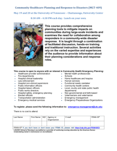 Community Healthcare Planning and Response to Disasters (MGT