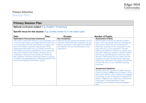 Exemplar Session Plan - Edge Hill University