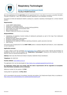 Respiratory Technologist - University of Cape Town