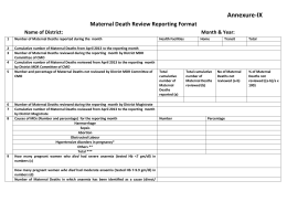 Annexure-IX Maternal Death Review Reporting Format Name of