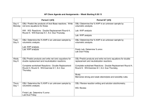 AP Chem Agenda and Assignments – Week Starting 9.30.13 Period