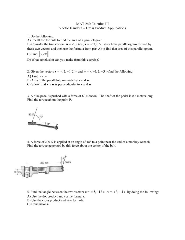 Vectors Cross Product Applications