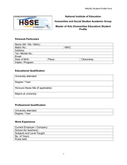 MA(HE) Student Profile Form National Institute of Education