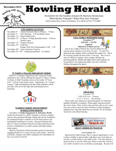 Howling Herald November 2014 Newsletter for the Families of