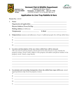 Application to Live-Trap Rabbits & Hare