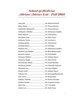 School of Medicine Advisor/Advisee List – Fall 2011