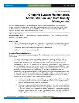 5 Ongoing System Maintenance, Administration, and Data Quality