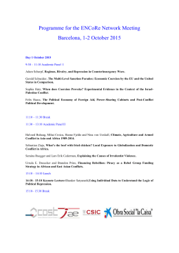Programme for the ENCoRe Network Meeting