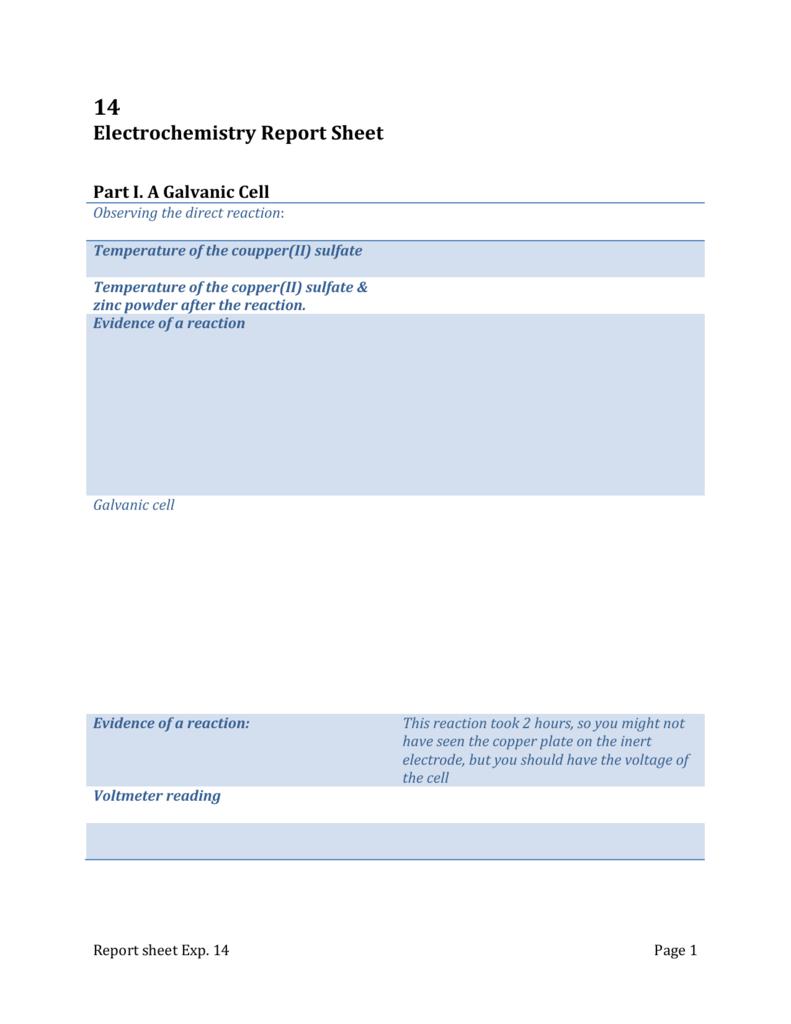 Chem 1B-Experiment 14 Report sheet