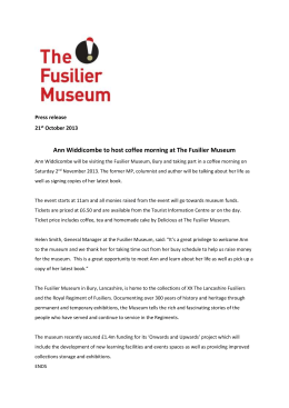 Ann Widdicombe to host coffee morning at The Fusilier Museum