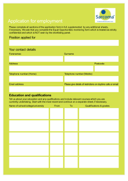 Sarcoma UK Application Form
