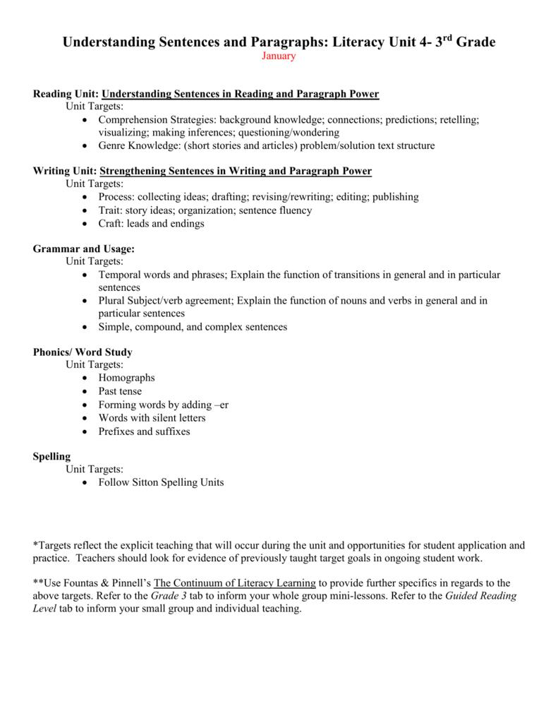 Unit 4 Understandig Sentences And Paragraphs