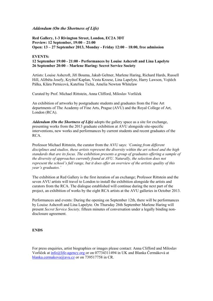Press Release Addendum Rca London