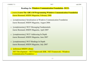 Readings for Windows Communication Foundation (WCF)