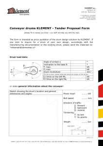 Conveyor drums KLEMENT - Tender Proposal