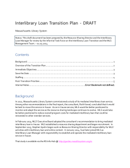 working draft transition plan - Massachusetts Library System