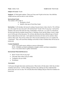 Fossil Lesson Plan - Ashley Cook`s Education Portfolio